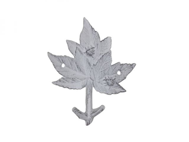 Whitewashed Cast Iron Maple Tree Leaf Decorative Metal Tree Branch Hook 6.5
