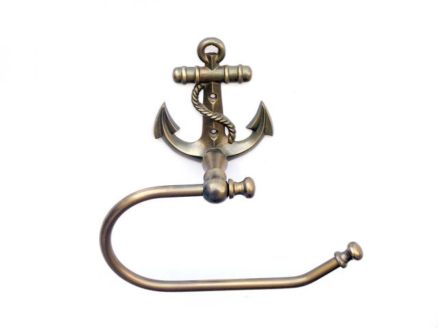 Antique Brass Anchor Toilet Paper Holder 10