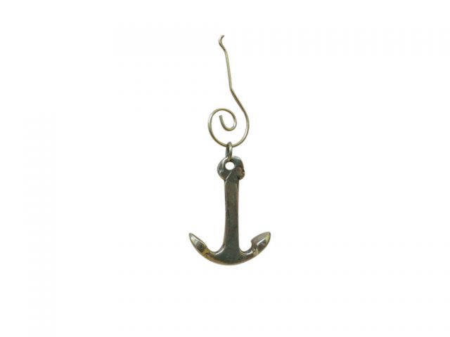 Brass Anchor Christmas Ornament 4