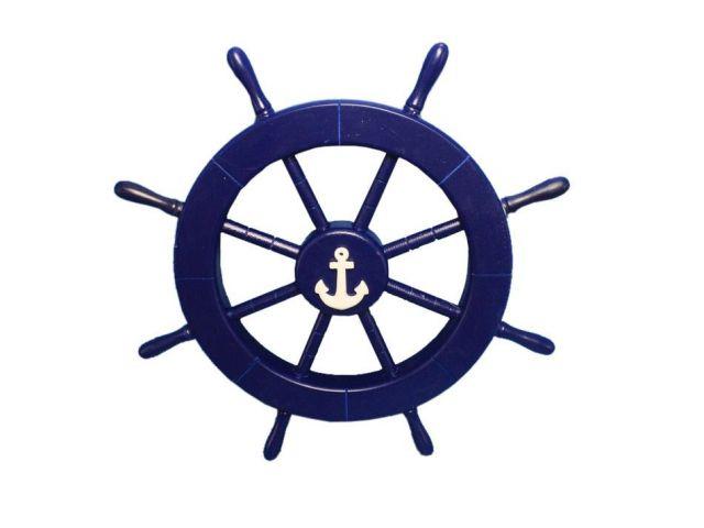 Dark Blue Decorative Ship Wheel with Anchor 18