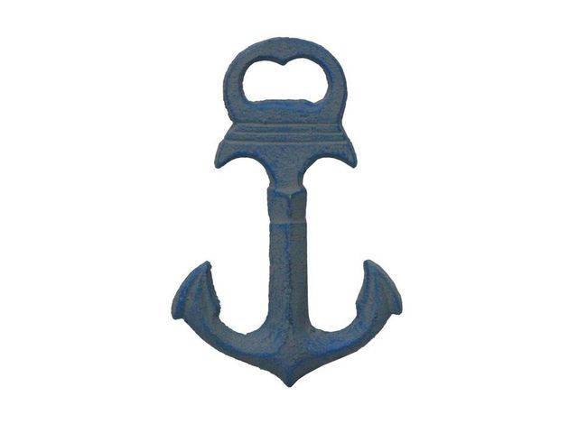 Rustic Light Blue Deluxe Cast Iron Anchor Bottle Opener 6
