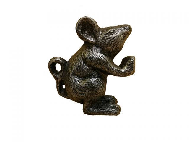 Rustic Silver Cast Iron Mouse Door Stopper 5