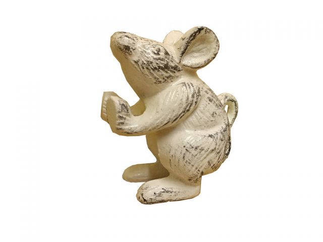 Set of 2 - Whitewashed Cast Iron Mouse Book Ends  5