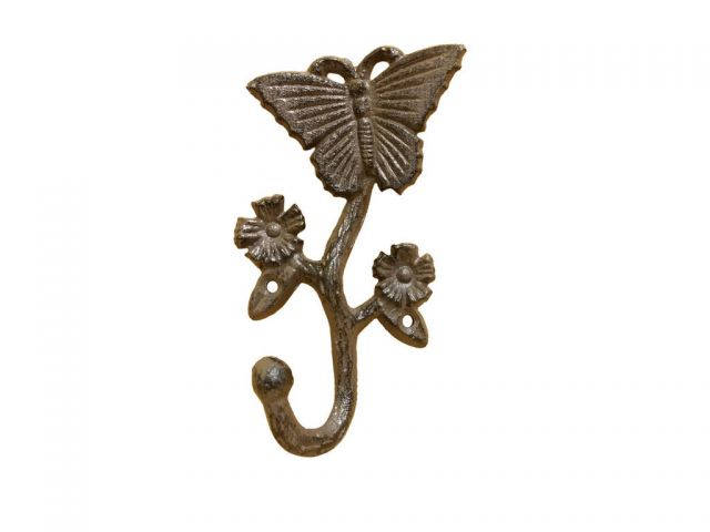 Cast Iron Butterfly With Flowers Hook 5