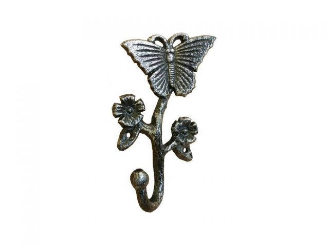 Rustic Silver Cast Iron Butterfly With Flowers Hook 5