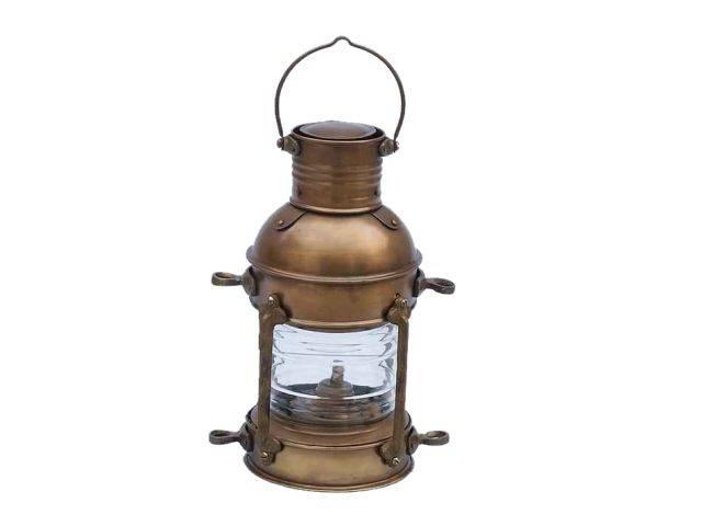 Antique Brass Anchor Oil Lantern 12