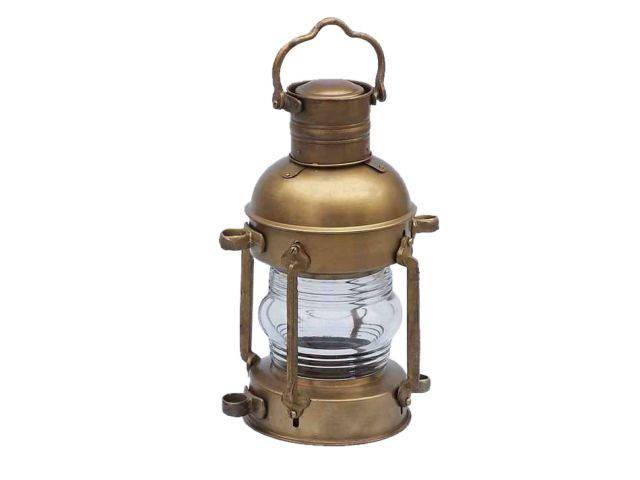 Antique Brass Anchor Oil Lantern 15