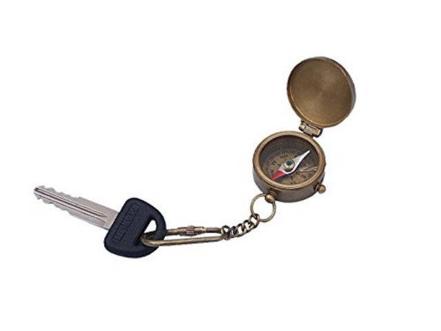 Antique Brass Compass w- Lid Key Chain 5