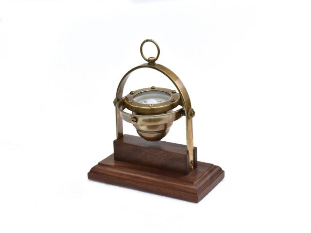 Antique Brass Desk Gimbal Compass 8