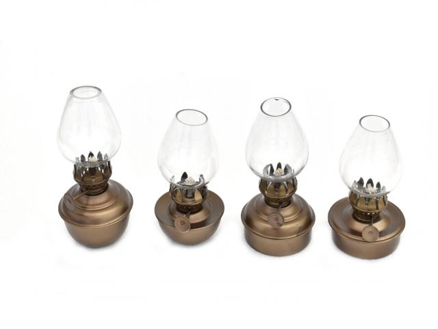 Antique Brass Table Oil Lamp 5 - Set of 4