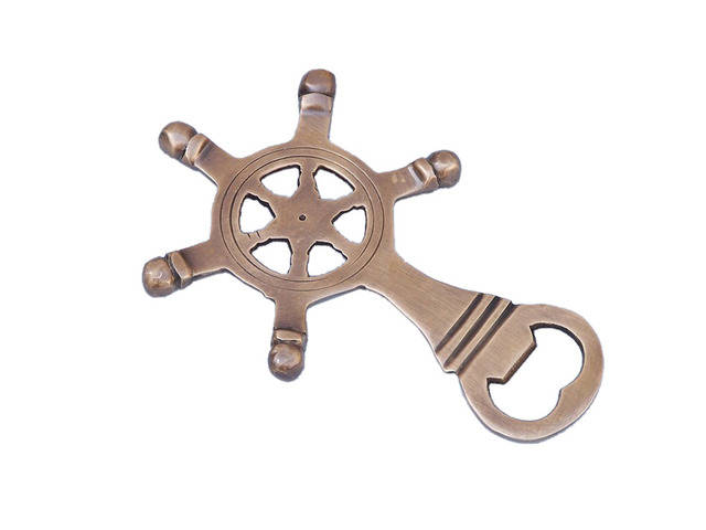 Antique Brass Ship Wheel Bottle Opener 5