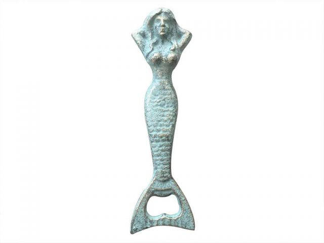 Antique Bronze Cast Iron Resting Mermaid Bottle Opener 7