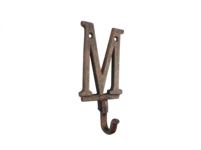 Rustic Copper Cast Iron Letter M Alphabet Wall Hook 6