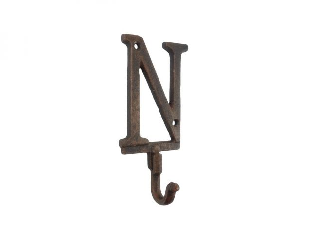 Rustic Copper Cast Iron Letter N Alphabet Wall Hook 6