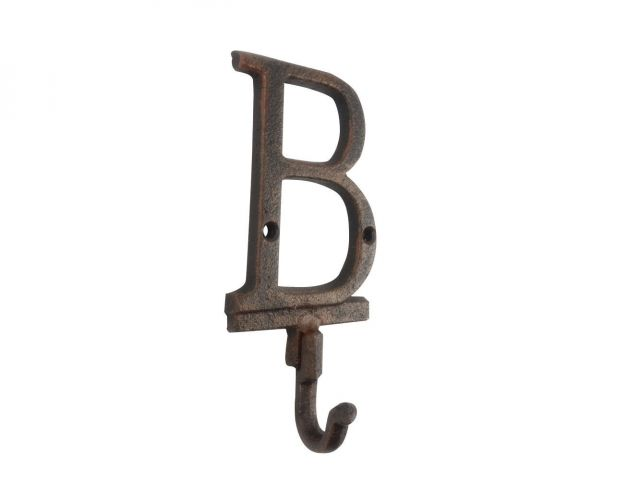 Rustic Copper Cast Iron Letter B Alphabet Wall Hook 6
