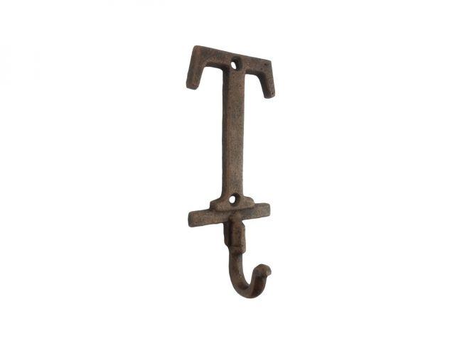 Rustic Copper Cast Iron Letter T Alphabet Wall Hook 6
