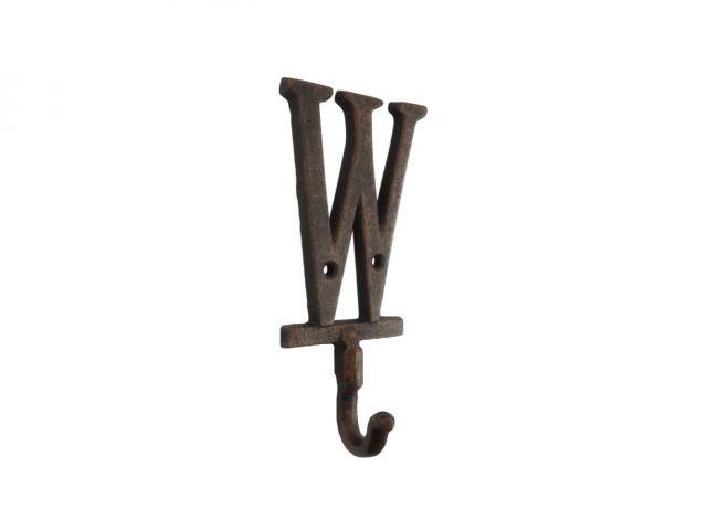 Rustic Copper Cast Iron Letter W Alphabet Wall Hook 6