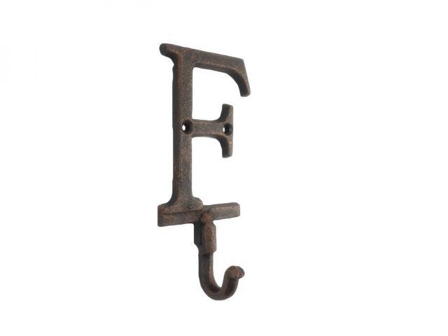 Rustic Copper Cast Iron Letter F Alphabet Wall Hook 6
