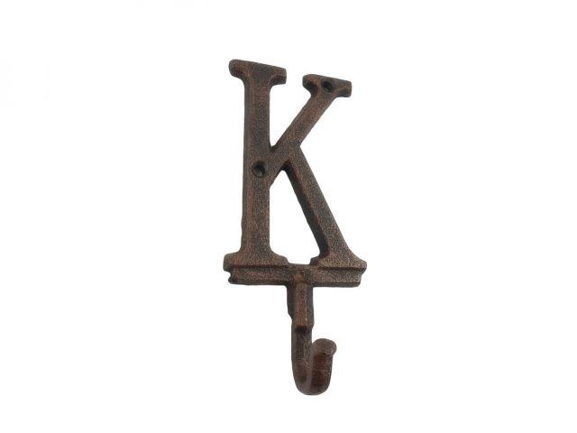 Rustic Copper Cast Iron Letter K Alphabet Wall Hook 6
