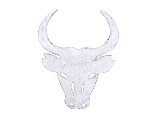 Whitewashed Cast Iron Bull Trivet 10