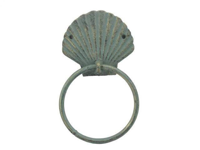Antique Bronze Cast Iron Seashell Towel Holder 8.5