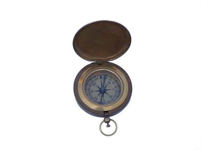 Antique Brass Captains Push Button Compass 3