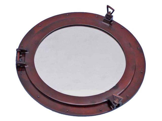 Antique Copper Decorative Ship Porthole Mirror 24