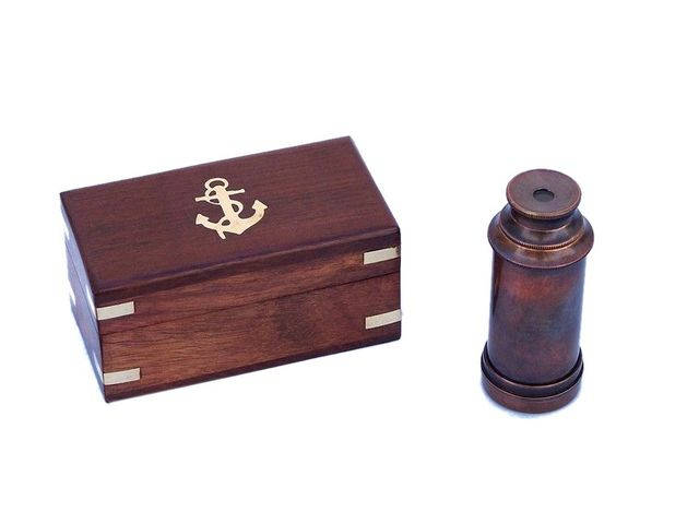 Deluxe Class Scouts Antique Copper Spyglass Telescope 7 with Rosewood Box