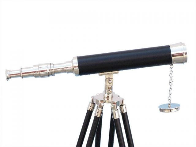 Floor Standing Chrome with Leather Harbor Master Telescope 50