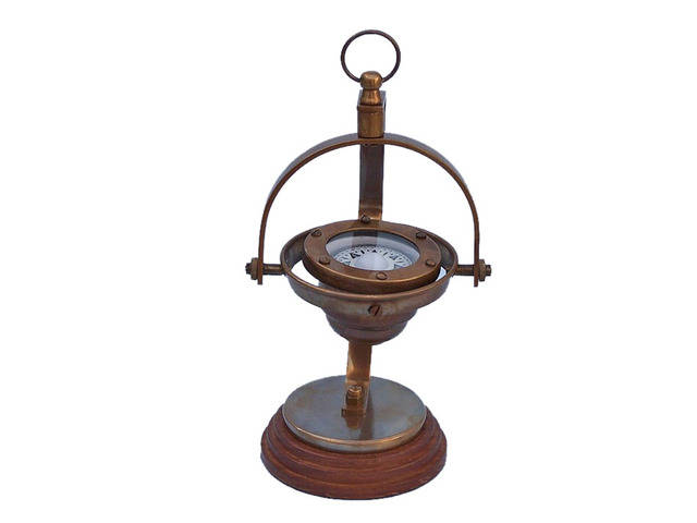 Antique Brass Hanging Compass 8