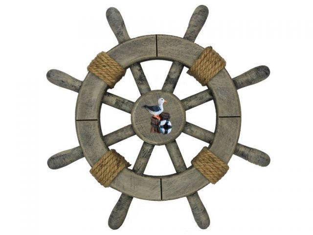 Rustic Decorative Ship Wheel With Seagull 12