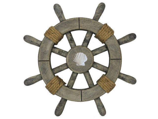 Rustic Decorative Ship Wheel With Seashell 12