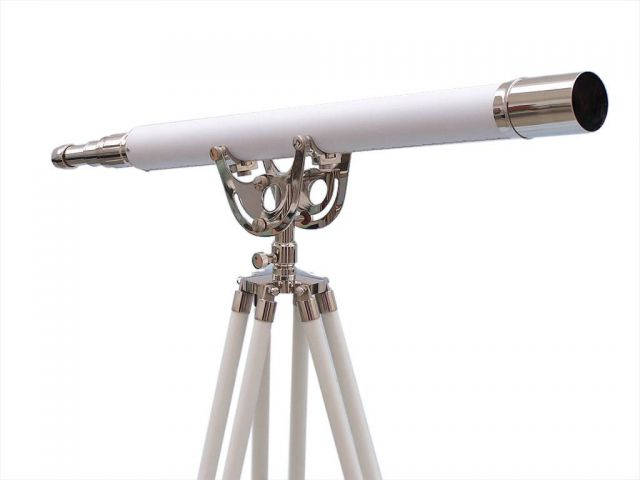 Floor Standing Chrome With White Leather Anchormaster Telescope 65