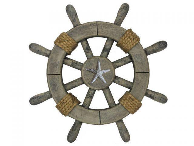 Rustic Decorative Ship Wheel With Starfish 12