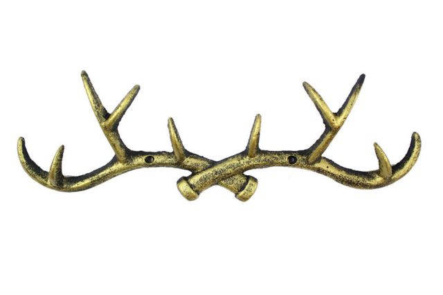 Rustic Gold Cast Iron Antler Wall Hooks 15