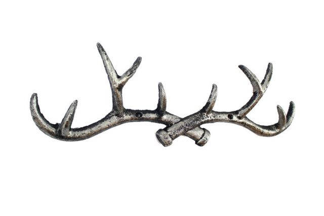 Rustic Silver Cast Iron Antler Wall Hooks 15