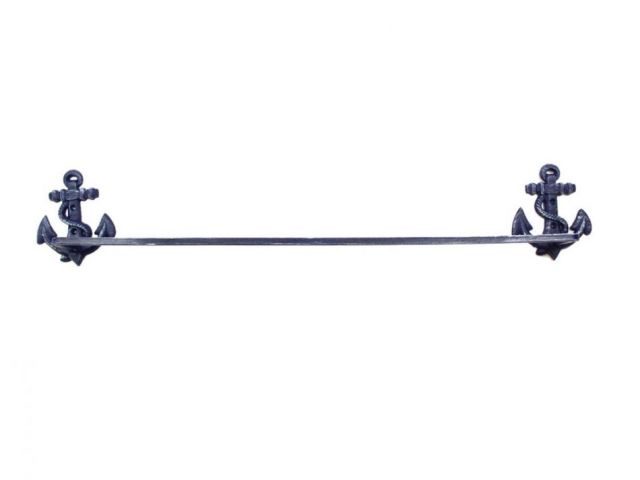 Rustic Dark Blue Cast Iron Anchor Bath Towel Holder 27