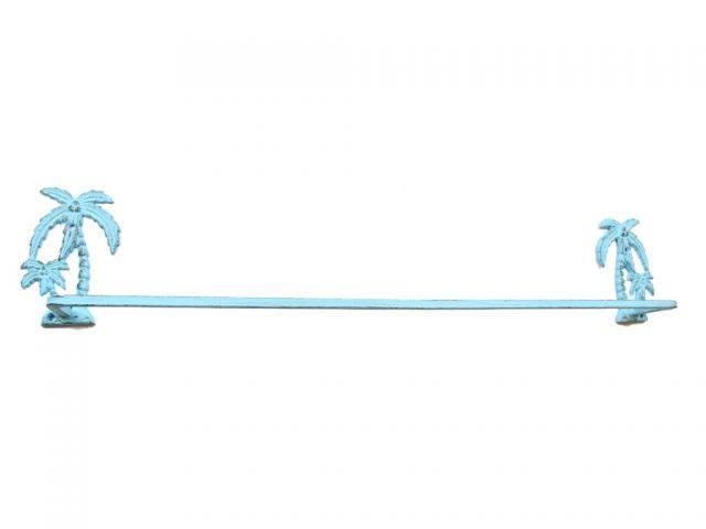 Rustic Light Blue Cast Iron Palm Tree Bath Towel Holder 26