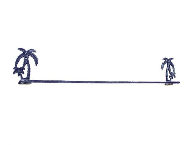Rustic Dark Blue Cast Iron Palm Tree Bath Towel Holder 26