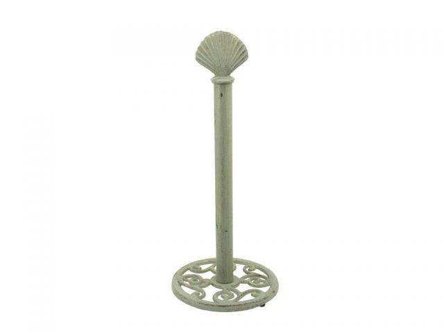 Rustic Seaworn Bronze Cast Iron Seashell Extra Toilet Paper Stand 16
