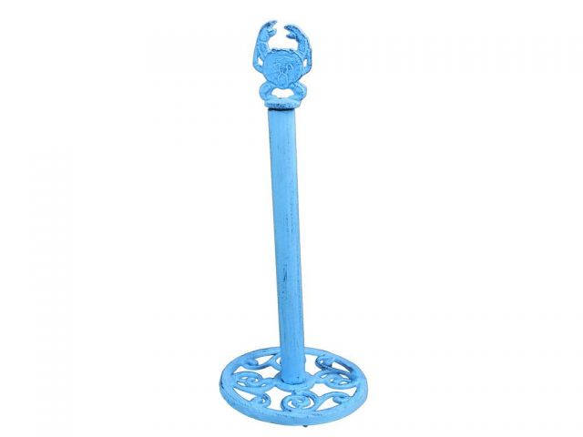 Dark Blue Whitewashed Cast Iron Crab Extra Toilet Paper Stand 16