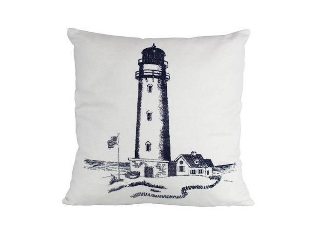 Blue Lighthouse Decorative Throw Pillow 16