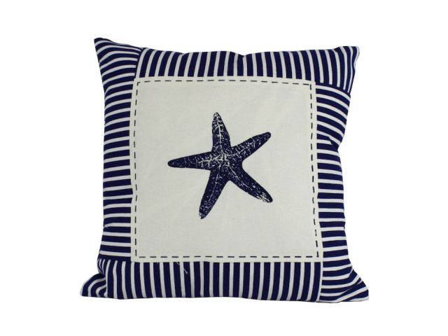 Blue Starfish Nautical Stripes Decorative Throw Pillow 16