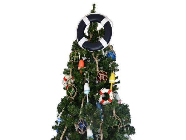 Dark Blue Lifering with White Bands Christmas Tree Topper Decoration