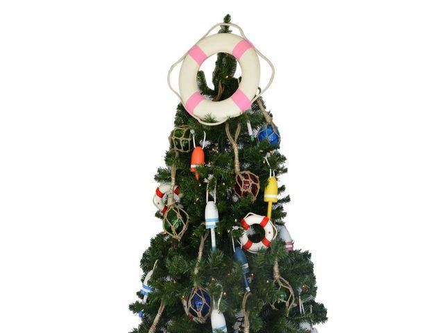 Classic White Lifering with Pink Bands Christmas Tree Topper Decoration