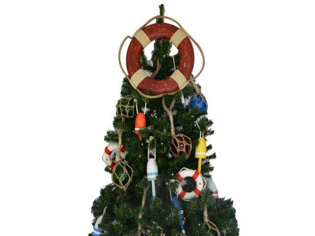 Vintage Red Lifering Christmas Tree Topper Decoration