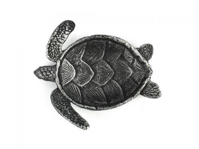 Antique Silver Cast Iron Sea Turtle Decorative Bowl 7