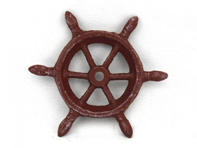 Red Whitewashed Cast Iron Ship Wheel Decorative Paperweight 4