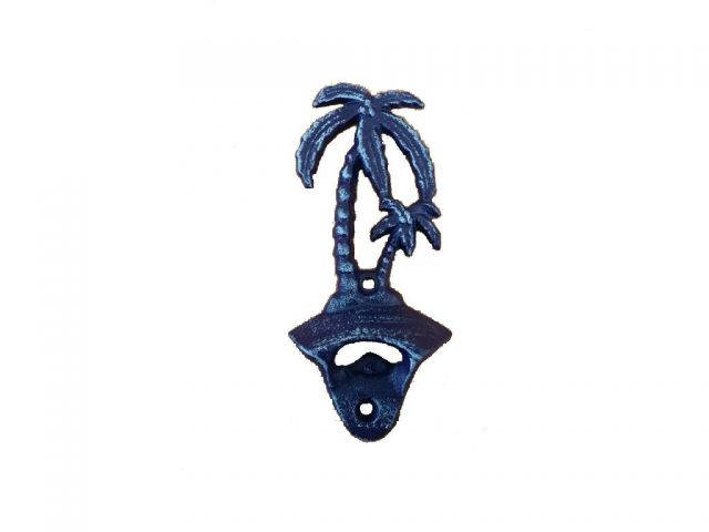 Rustic Dark Blue Cast Iron Wall Mounted Palm Tree Bottle Opener 6