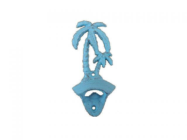 Rustic Light Blue Cast Iron Wall Mounted Palm Tree Bottle Opener 6